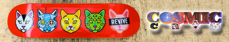 VMS Distribution Europe REVIVE SKATEBOARDS - Shop the Revive Skateboards Cosmic Cats Skateboard Deck over at the VMS Distribution Online Skateshop. Fast Shipping to Germany, Austria & all over Europe! --- Revive Skateboards Europe ---