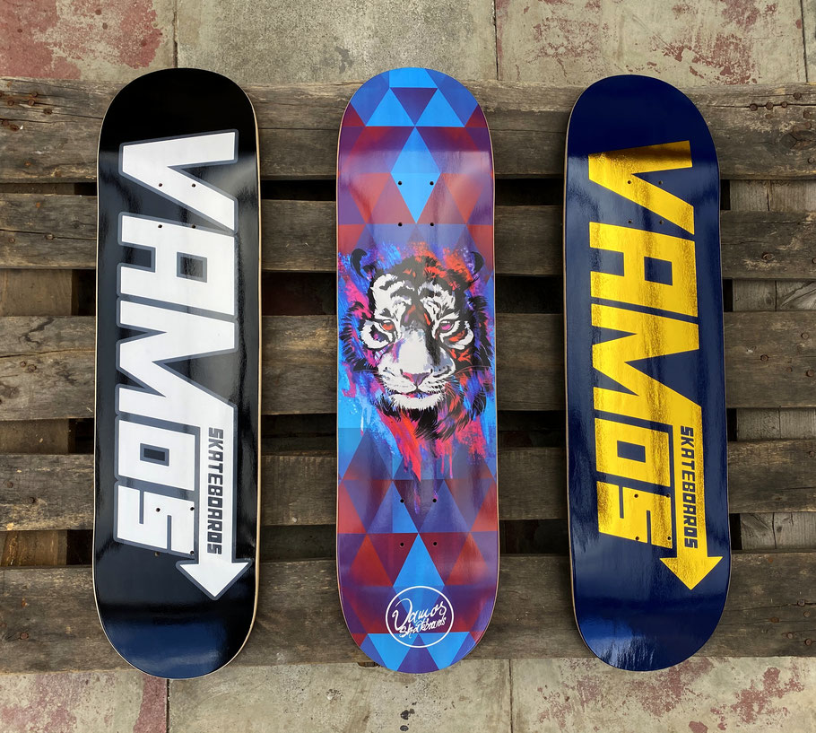 VMS Distribution Europe: Vamos Skateboards New Fall 2020 Release Out Now! Vamos Black Speed Deck, Vamos Tiger Deck, Vamos Navy/Gold Speed Premium Foil Deck. Jetzt erhätlich!
