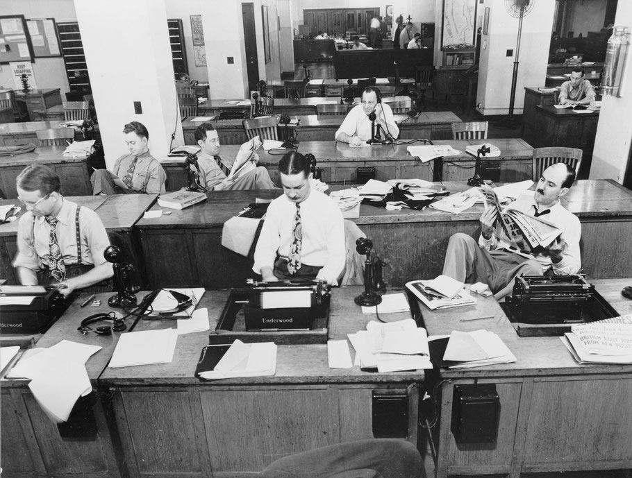 Maschinensaal der New York Times, 1942 (Foto: CC0 Public Domain)