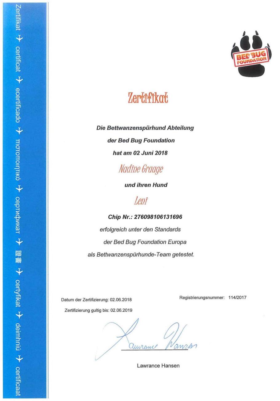 Zertifikat von der BedBugFoundation