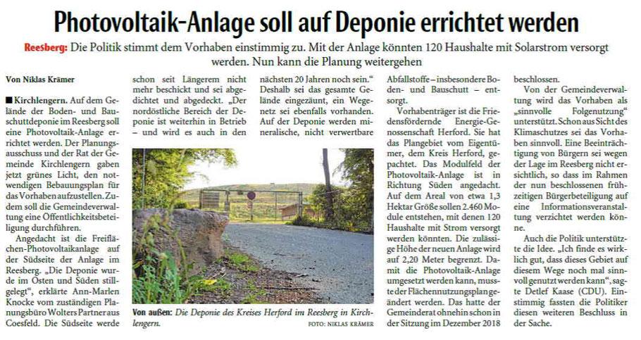 Zeitungsartikel Neue Westfälische Herford
