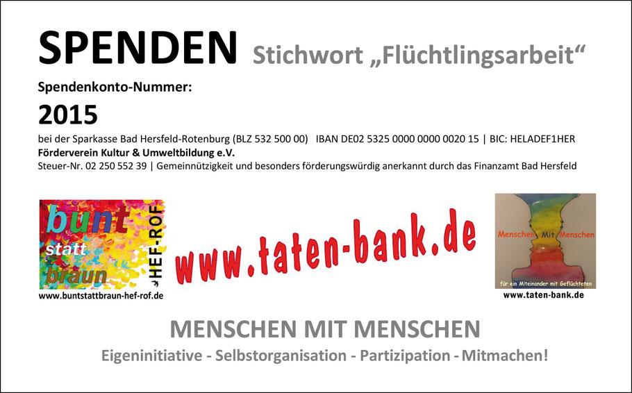 Spenden an Taten-Bank.de für Flüchtlingshilfe in Fulda