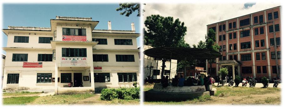 Der Bishwa-Bhasa-Campus. Eines der Gebäude gilt wohl als Neubau. Ich sag einfach weißes ranziges Gebäude und rotes ranziges Gebäude …