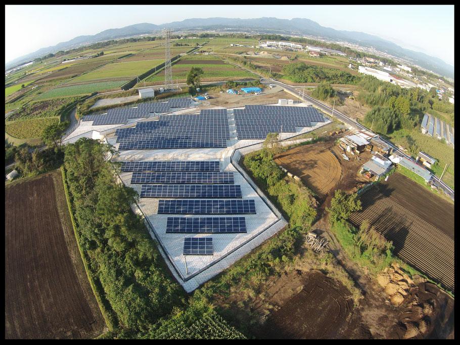 広大な敷地に野立て太陽光を設置 下地処理にわが社の自然に優しい雑草対策!!