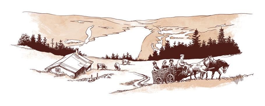 Deluc et ses compagnons de voyageutilisent un char à charbon pour se hisser au sommet de la Dent