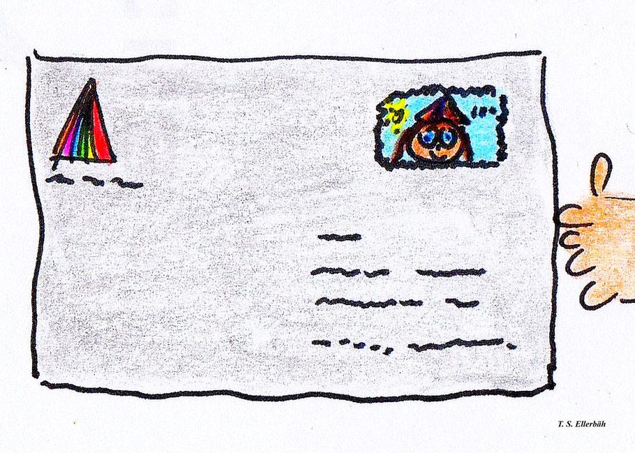 Ellerbähs erste und bislang einzige Briefmarke über 100 Ellerbäh-Schilling