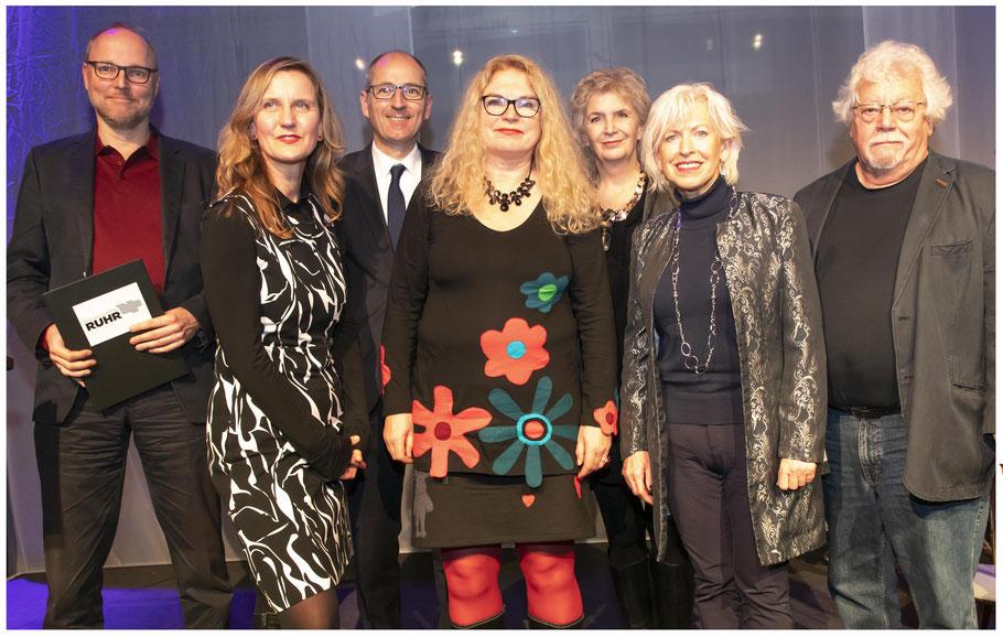 Literaturpreis Ruhr Verleihung Förderpreisträger Oliver Driesen, Ingrid Kaltenegger, Hauptpreisträgerin Elke Heinemann