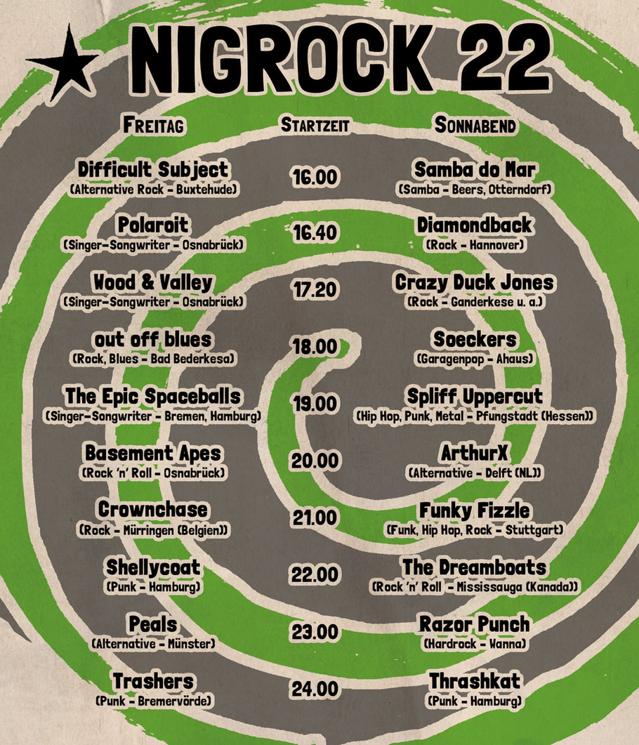 Timetable NIGROCK Festival Nr. 22 in Bad Bederkesa