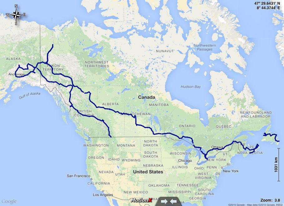 unsere gefahrene Route durch Kanada und Alaska