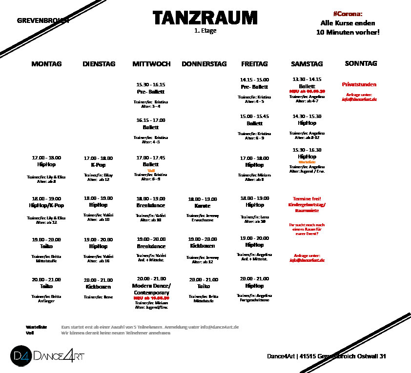 Stundenplan Kursplan Wochenplan Dance4Art Kurse Grevenbroich