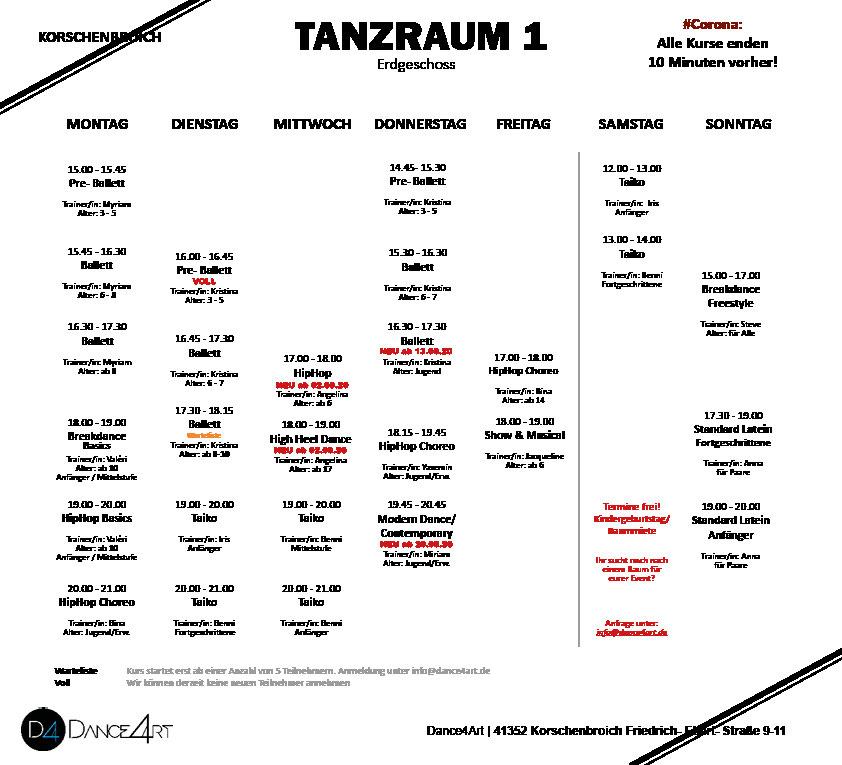 Stundenplan Kursplan Wochenplan Dance4Art Kurse Korschenbroich