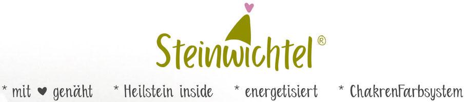 Steinwichtel Logo mit Herz genäht Heilstein inside energetisiert ChakrenFarbsystem