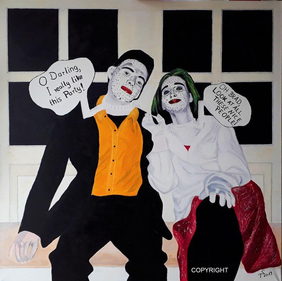 Comic Brad and Darling, Acryl auf Leinwand, 100 x 100 cm