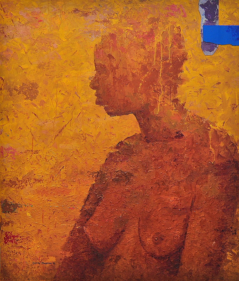 Distant Sound, oil, moosgummi (foam), glue on canvas, 150 cm x 120 cm