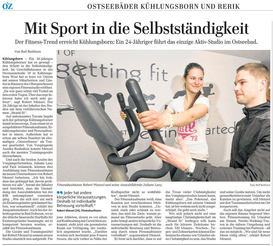Zeitungsartikel Strandfit Kühlungsborn