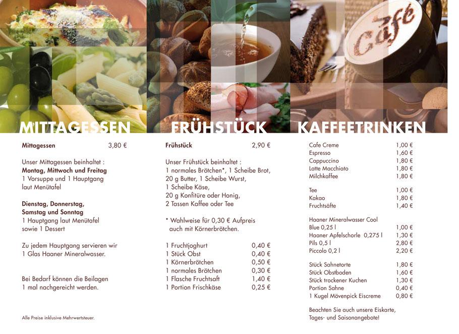 Menükarte Café-Restaurant