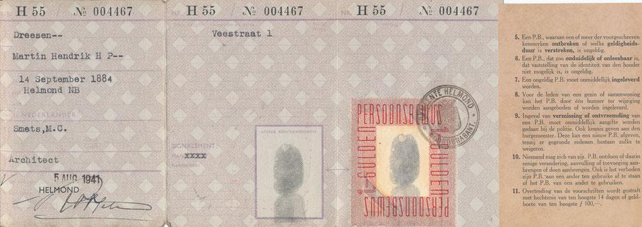 1941 Persoonsbewijs Martin Hendrik H P-- Dreesen
