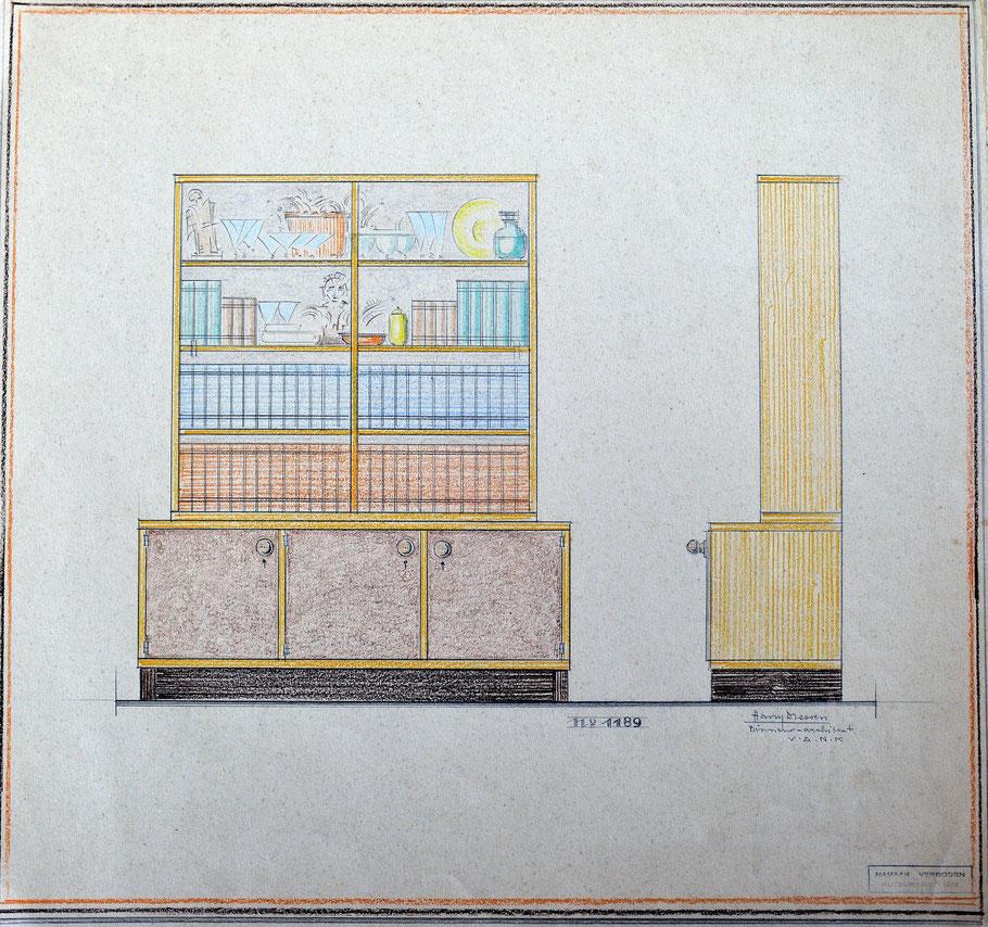 HD n° 1189 Bibliotheekkast - originale tekening - eigendom van Wil Reijnders