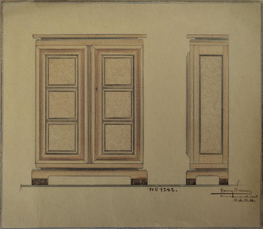 HD n° 1242 Kast - originale tekening - eigendom van Wil Reijnders