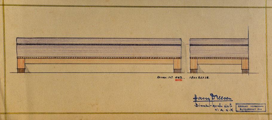 HD n° 662 Bank- originale tekening eigendom van Wil Reijnders