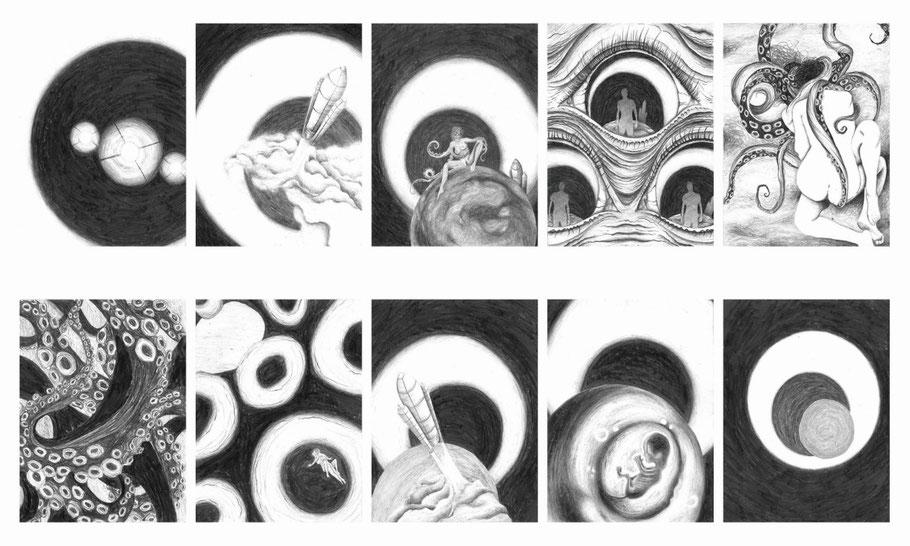 """Contre-jour amoureux, 10 dessins crayons graphites de 11x14 cm. 2016.  Illustration de la chanson """"La java Martienne"""" de Boris Vian"""