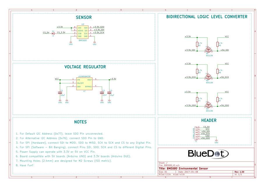 Schematics for BlueDot BME680 Board