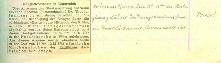 Anlässlich des Kriegsendes 1945 wurde ein Dankgottesdienst gefeiert.