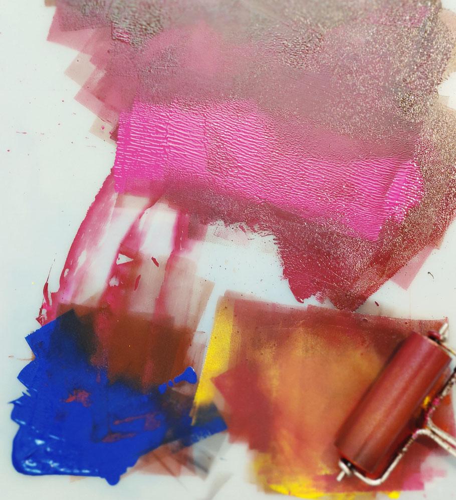 Farbrausch, Farbmischung zum Drucken des Holzschnitts, mit Farbwalze