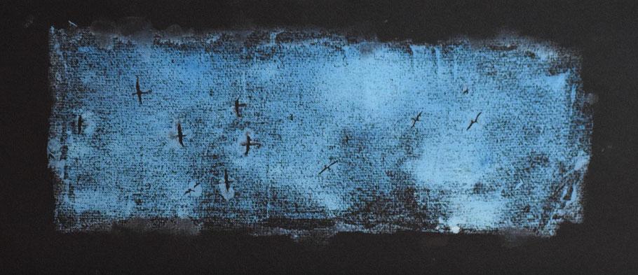 Holzschnitt, Linolschnitt, farbig blau, Vögel, Acrylfarbe