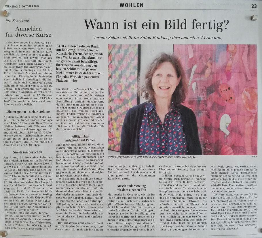 Den Bericht im WA vom 3. Okt. 2017 hat Bettina Leemann geschrieben. Er gefällt mir sehr gut.
