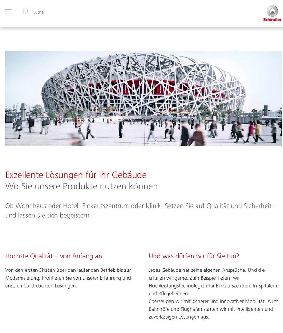 Design der Schindler SChweiz Website