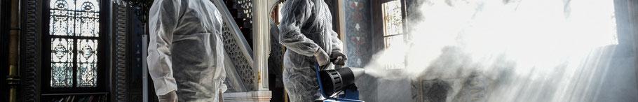 Desinfektor, Desinfektion, Desinfektionstrupp, manuelle Flächendesinfektion, Sprühnebelverfahren, antimikrobielle Beschichtung, Reinigungstrupp, Reinigung Offenbach, Reinigung Rodgau, Reinigungsteam