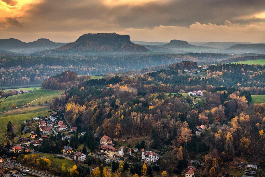 Fotoworkshop Elbsandsteingebirge, Sächsische Schweiz, Blick vom Basteifelsen zum Lilienstein