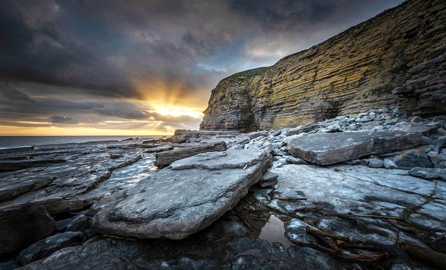 Fotoreise Wales, Sonnenuntergang Dunraven Bay, Wales