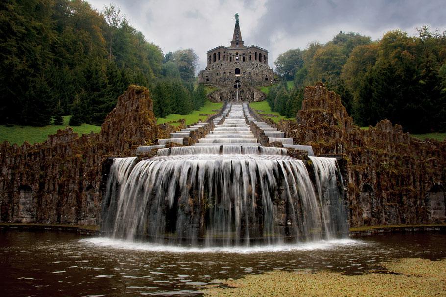 Landschaftsfotografie Deutschland, Bergpark Kassel Wilhelmshöhe, Kaskaden und Herculesstatue