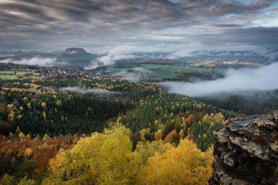 Landschaftsfotografie Deutschland, Nationalpark Sächsische Schweiz, Elbsandsteinigebirge, Blick vom Papststein