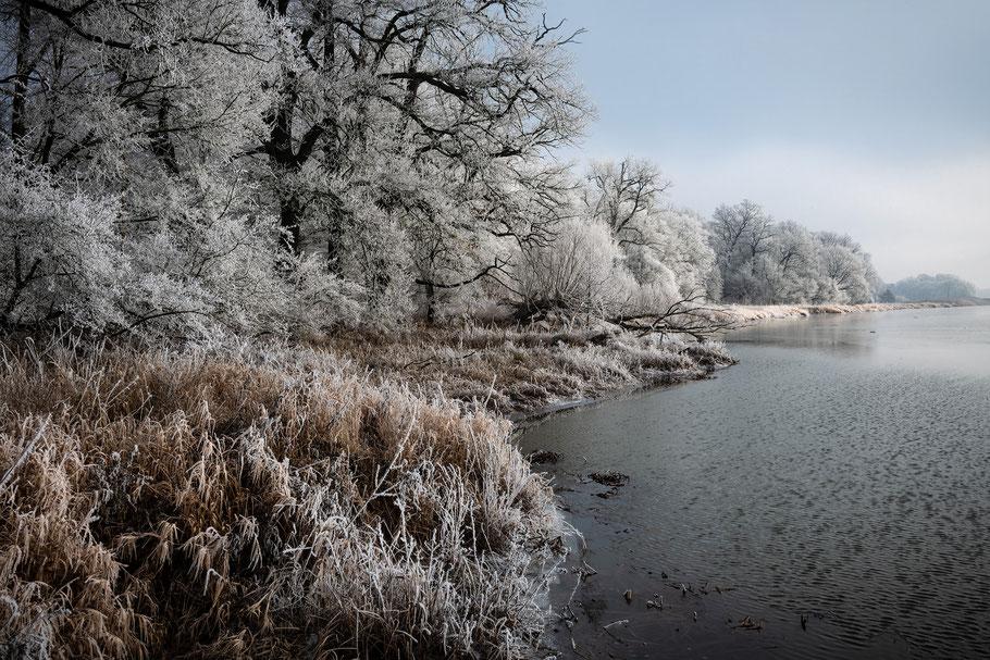 Winterlandschaft mit blauem Himmel