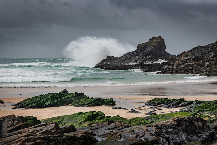 Sturm an der Küste Cornwalls