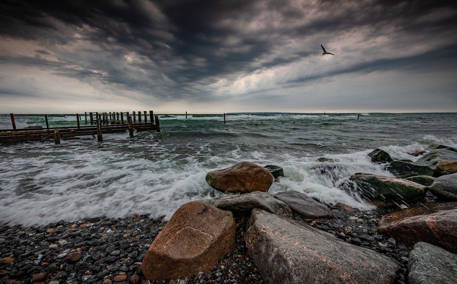 Strand, Fischerdörfchen, Vitt, Wolken