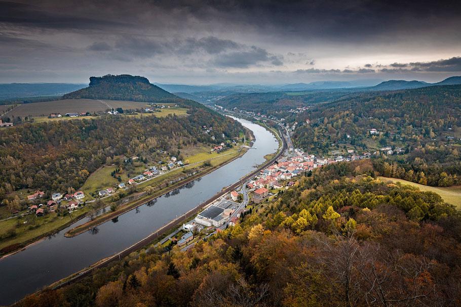 Blick von der Festung Königstein, Lilienstein, Elbsandsteingebirge