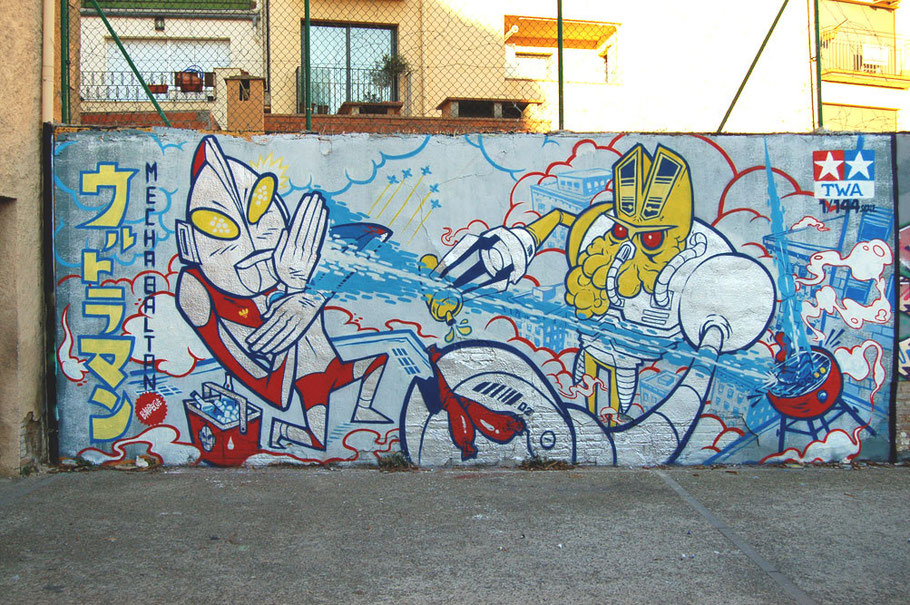 Ultraman vs. Mecha Baltan graffiti