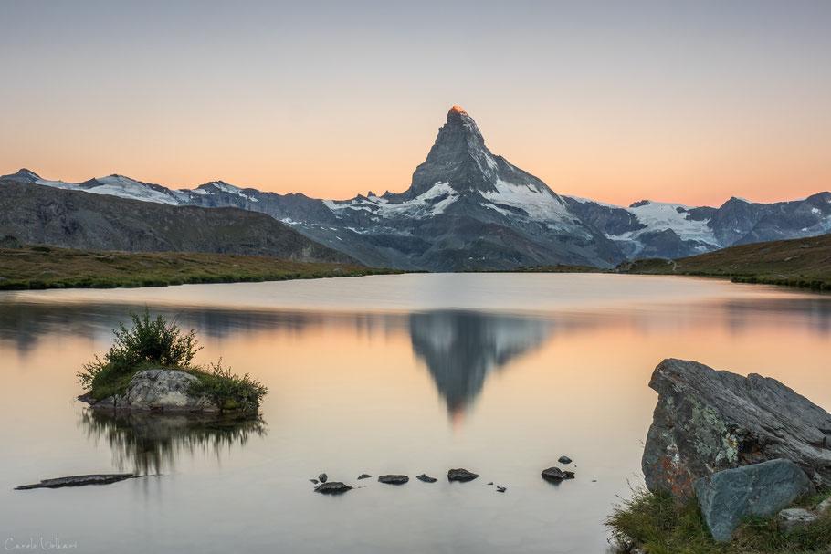 Sonnenaufgang am Stellisee bei Zermatt, Wallis