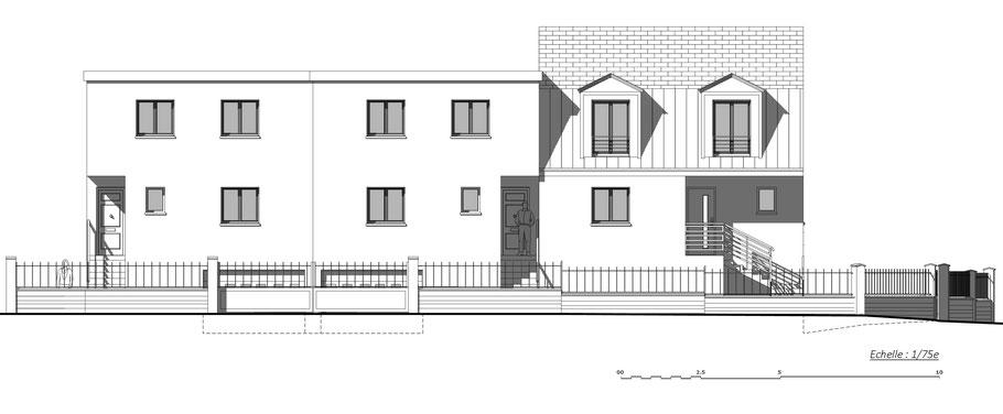 elevation d'un petit collectif situé à Chennevières, pour une agence d'architecture