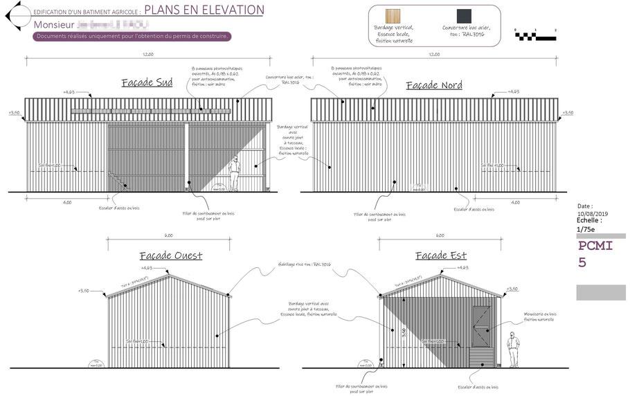 elevations d'un hangar en ossature bois, permis de construire, ocoeurdesplans.com