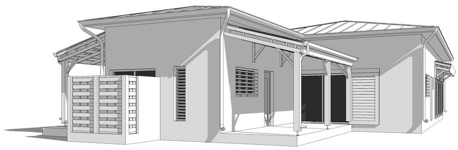 maison individuelle martiniquaise en 3D, modélisation
