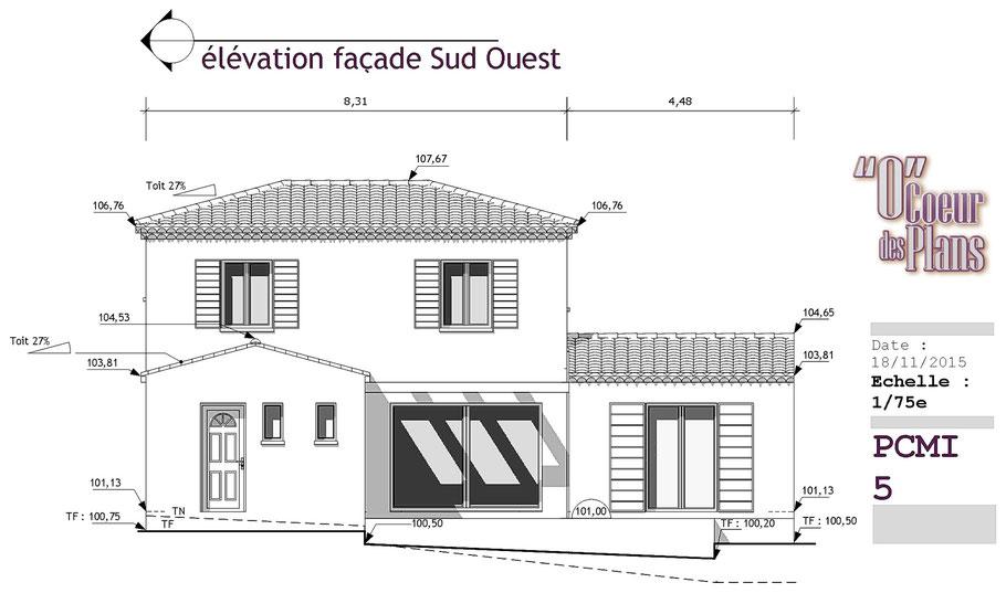 PCMI 5, toute la 3D, élévation de façade