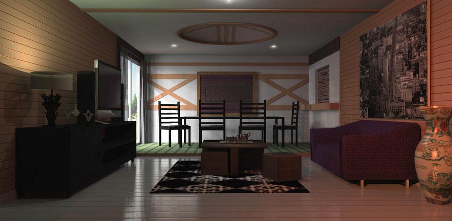 intérieur en 3D d'appartement d'Asie Centrale