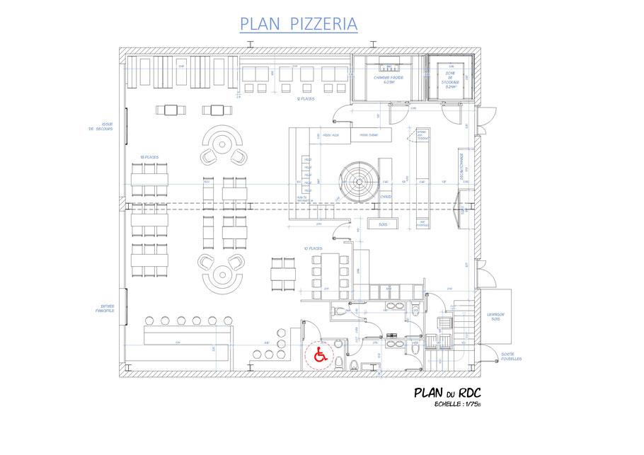 collaborateur  d'architecte, plans de cellule de restaurant