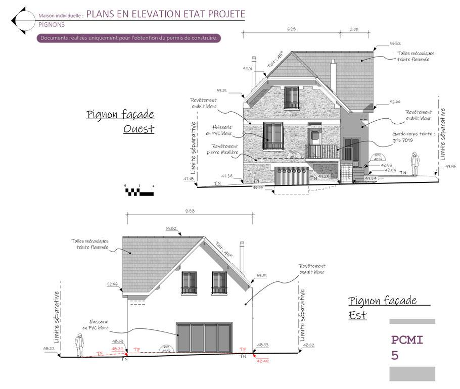 elevation en etat projete, agence d'architecture, seine et marne, 77000