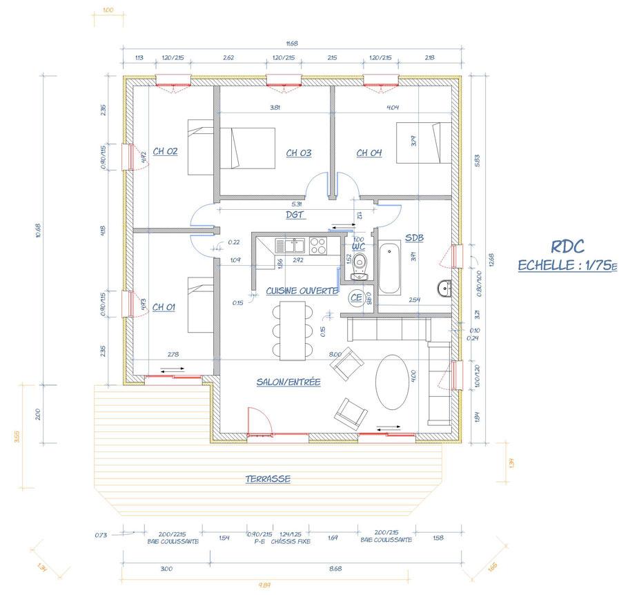 seine et marne, plan de cellules RDC architecture
